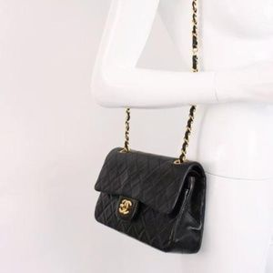 45371d2f27651e CHANEL Bags | Rare Vintage 9 Inch Double Flap Bag Black | Poshmark